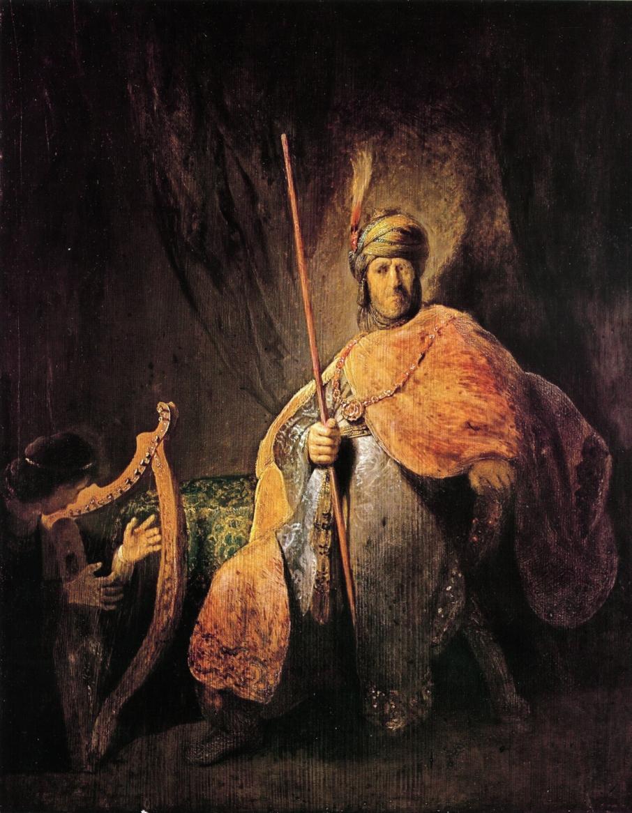David speelt harp voor Saul -  Rembrandt van Rijn
